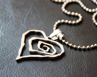 New- MIP- Marilyn Manson Stainless Steel Heart pendant w/ 30 inch steel ball chain