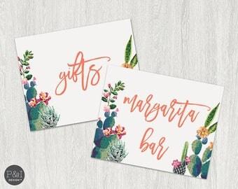 Margarita Bar and Gift Signage | Fiesta Cactus Bridal Shower Signage (8x10)