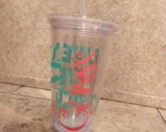 16 oz acrylic cup with lid and straw