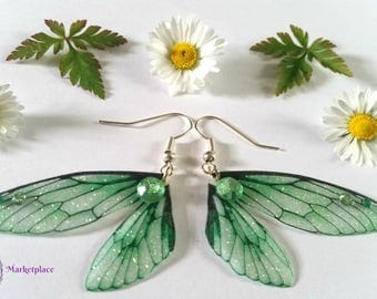 Magical Green Fairy Wing Earrings