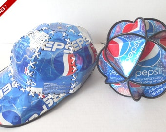 Retro Set of Recycled Pepsi Can Art//Ornament//Baseball Hat//Soda Can Art//Pepsi Lover