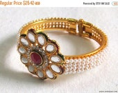 30% OFF SALE Bracelet Cuff Flexible Copper with Enamel, Zircon, and Indian Crystal Glass Beads with Pearls Band from Rajasthan in West India