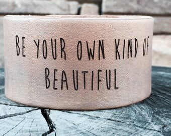 Be your own kind of besitiful gray leather cuff