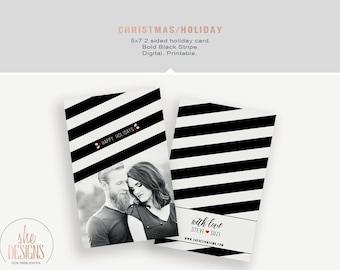 Christmas Card - Holiday Photo Card - Printable - 2 sided - Black stripe - modern christmas