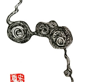 Original, Ink drawing, with signature, chinese  stemp, 2016