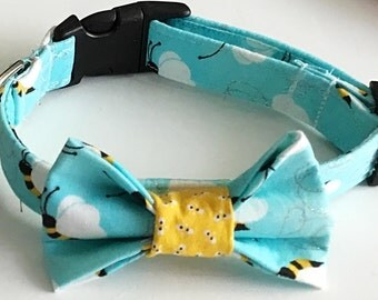Blue Bumble Bee Bow Tie Collar for Cats and Dogs