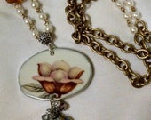 Rose broken china necklace