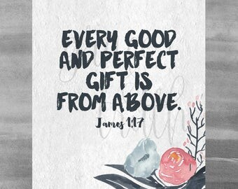 James 1:17 || Home Decor || Encouragement || Scripture || Every good and perfect gift is from above ||