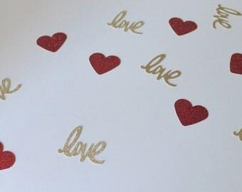 Red and Gold Confetti- Love Confetti- Bridal Shower Decor- Valentine's Decor- Baby Shower Decor- Gold and Red Baby shower- Red Confetti
