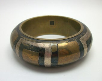 Mixed Metal Mosaic Indian Bangle Bracelet - Vintage Gypsy Boho Jewelry
