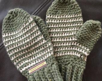 Green & White Striped Mittens