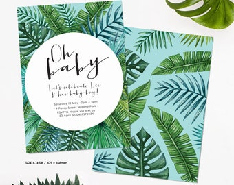Oh Baby - Tropical Baby Shower Invitation | Fern and Palm Baby Shower Printable Invitation | Personalised 105 x 148