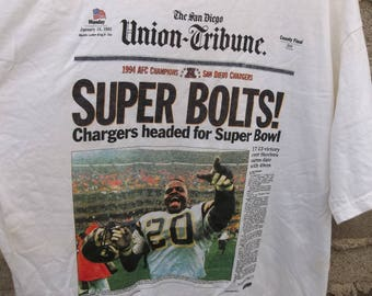 Vintage T-Shirt Union Tribune San Diego News Paper Chargers 1994 Unique Gift Hard to Find Football Memorabilia XL