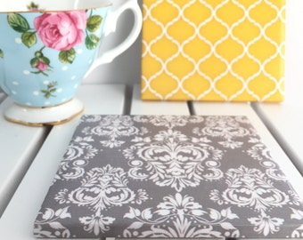 Black, Grey, Damask, Yellow Moroccan Quatrefoil - 4 Piece Ceramic Tile Coaster Set-Wedding Gift, Wedding Favors, Hostess Gift- Made to order