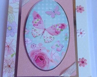 Birthday Wishes Butterfly Floral Handmade Card