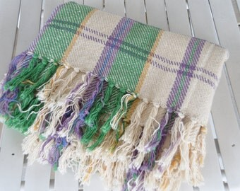 Bright and pretty vintage cotton throw - spring colours - perfect tossed on the bottom of a cottage bed or on a deck chair