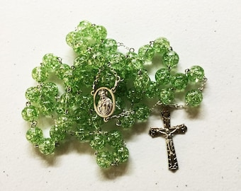 10mm green bead rosary with Sacred Heart Madonna and Child (san Isidoro) center