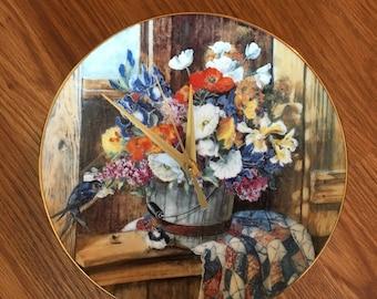 Floral Homespun Beauty 8 1/2 Inch Clock -