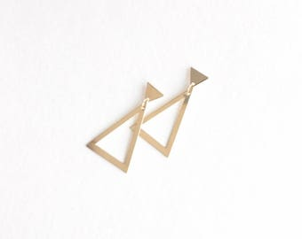 Double Triangle Earrings // 14k gold filled earrings