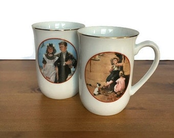 Norman Rockwell coffee cups vintage set of 2 collectible ceramic mugs