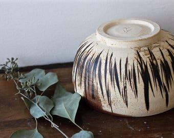 Stoneware Bowl with Black Stripes