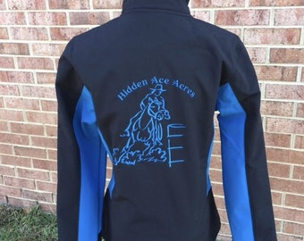 Barrel Racer Soft shell Jacket with Your own choice of Text either Barn, Rider name or web address for advertising,  plus text on front