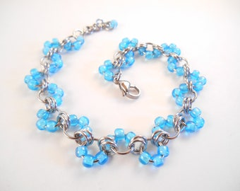 Blue Wave Bracelet - Light Blue Beaded Stainless Steel Wave Chain Maille Bracelet