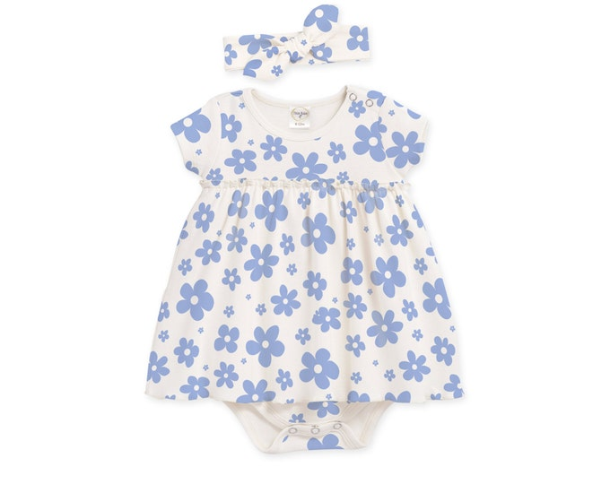 Baby Girl Outfit Summer, Newborn Girl Coming Home Outfit Summer, Baby Skirted Bodysuit, Blue Floral Bodysuit TesaBabe BH58SBLIY0000