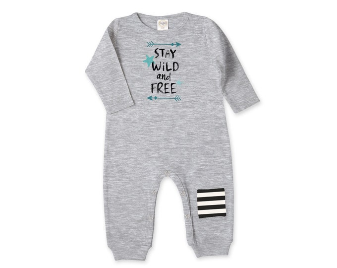 Newborn Baby Coming Home Outfit, Stay Wild Free Bodysuit, Newborn Unisex Romper Bodysuit, Baby Bodysuit Knee Patch TesaBabe RP81HG-1A46IBS