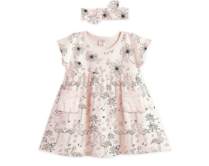 Baby Girl Summer Dress, Baby Girl Floral Dress, Toddler Girl Outfit, Pink Flamingo Summer Dress with Pocket, Headband Tesababe DR73PDSFL0000