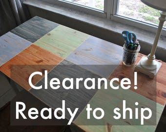 Clearance! - Colorful Checkered Wood Desk with Round Metal Legs - Read description!