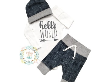 Baby boy coming home outfit -distressed navy and gray theme - going home set hello world, baby shower gift, coming home outfit new baby