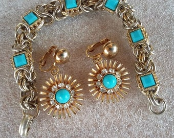 Vintage Park Lane Gold tone and Turquoise Clip Earrings, paired with bracelet