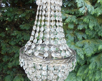 Beautiful vintage Mongolfière 3 tier crystal chandelier