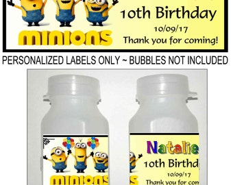 30 MINIONS BIRTHDAY PARTY favors bubble labels