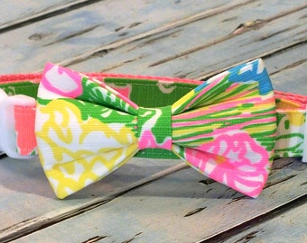 Lilly Pulitzer Hibiscus Stroll Dog Collar Bow Tie set, pet bow tie, collar bow tie, wedding bow tie