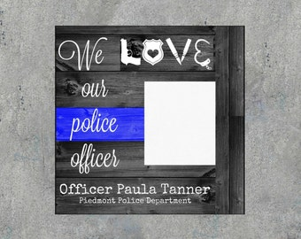 Personalized Police Officer Picture Frame | Thin Blue Line Frame | Personalized Law Enforcement | Police Academy Gift
