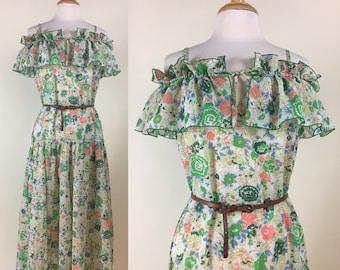 Vintage Clovis Ruffin RUFFINWEAR Floral off-the-shoulder Midi Dress Ruffle Drop waist