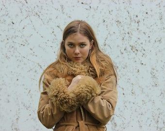 VTG 1970s Penny Lane Suede Coat Jacket Gypsy Festival Folk Boho Hippie Afghan 60s Winter Shearling