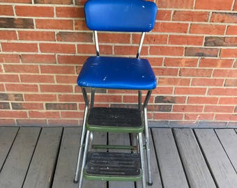 Vintage Cosco Green Metal Step Stool Folding Chair Recovered Blue Vinyl Seat and Back