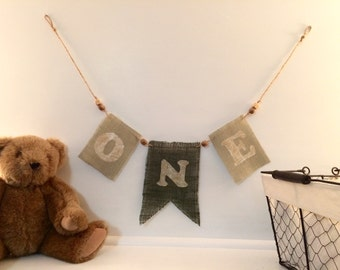 "Burlap ""ONE"" Year Old's Birthday Banner-Sage colors"