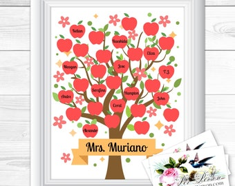 "Apples Flowers Signature Personalized Custom Gift Teacher Appreciation Principal Administrator Subway Wall Art Sign 8x10"" Any Names  Blank"