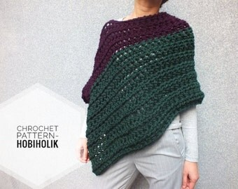 Pattern Poncho - Easy crochet chunky poncho pattern -Beginner Pattern-Cape Cozy Wrap patterns