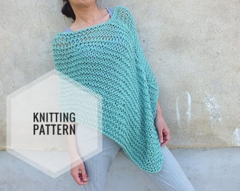 How To Knit A Poncho For Beginners Pattern : Pattern Poncho - Easy to knit poncho pattern -Beginner Pattern-Instant Downlo...