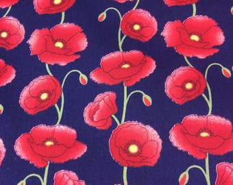 Red Poppies Print Fabric, Navy background Cotton, summerdresses,  Girls clothes HALF METRE