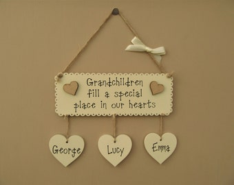 "Personalised Grandchildren Wooden Sign ""Grandchildren fill a special place in our hearts"" Mother's day gift."