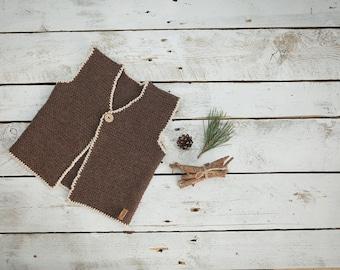 Brown vest / Knitted vest / Knitted Baby Vest /  Wool Baby vest / Girl / Kids vest / Children vest / Toddler vest