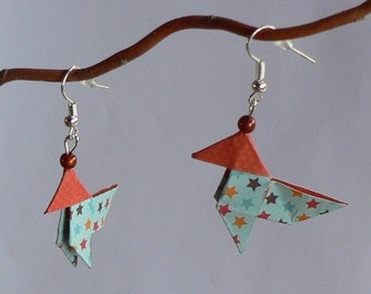 Boucles d'oreilles Origami Cocottes Papier Etoiles.