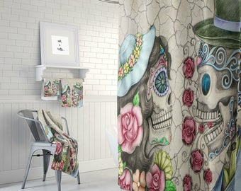 """Sugar Skull Forever More Shower  Curtain  Optional Bath Mat/Towels  Set """"You Make  Me Smile"""" Design"""