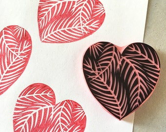 Palm Tree Heart, hand carved, rubber stamp, valentines, heart stamp, tropical heart